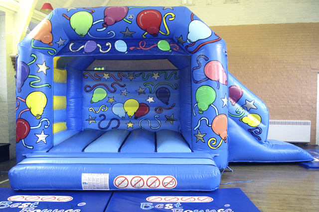 Blue Bouncy Castle With Slide