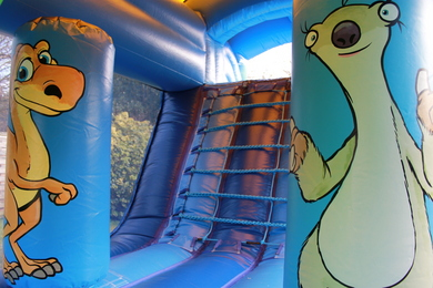 Inside Dinosaur Fun Run Bouncy Castle