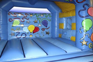 Inside Right Blue Slide Combi Bouncy Castle