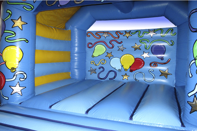 Inside Left Blue Slide Combi Bouncy Castle