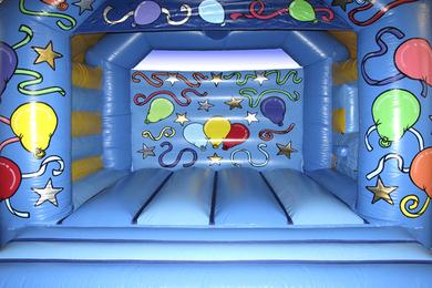 Inside Blue Slide Combi Bouncy Castle