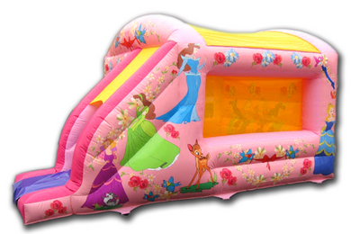 Outside Right Princess Box Jump & Slide Bouncy Castle