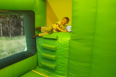 Jungle Box Jump & Slide Bouncy Castle Inside Steps