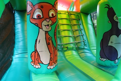 Inside Jungle Fun Run Bouncy Castle Hire