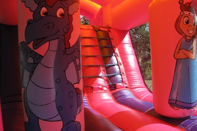 Inside Princess Fun Run Bouncy Castle Hire