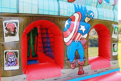 Front SuperHero Fun Run Bouncy Castle