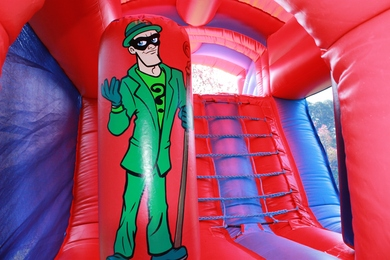 Inside SuperHero Fun Run Bouncy Castle