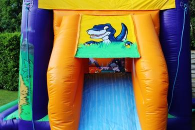 Dinosaur Slide Combi Bouncy Castle Outside Slide