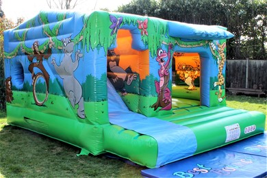 Jungle Cabin Bouncy Castle With Slide Woking